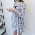 Maternity Set: Floral Print Bell-Sleeve Chiffon Dress + Strappy Dress 1596