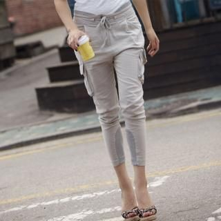 Picture of MoDN Drawstring-Waist Cropped Cargo Pants 1022965699 (Womens Drawstring Pants, Womens Cropped Pants, Womens Cargo Pants, MoDN Pants, South Korea Pants)