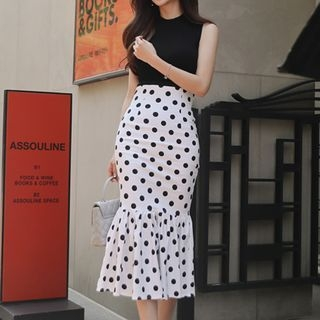 Set: Sleeveless Knit Top + Dotted Skirt 1066834775