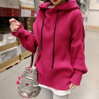 Long Sleeve Hooded Rib Knit Top 1062451294