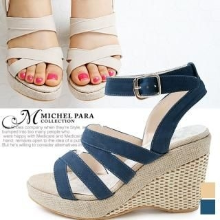 Picture of MICHEL PARA COLLECTION Ankle Strap Wedge Sandals 1022939860 (Sandals, MICHEL PARA COLLECTION Shoes, Korea Shoes, Womens Shoes, Womens Sandals)
