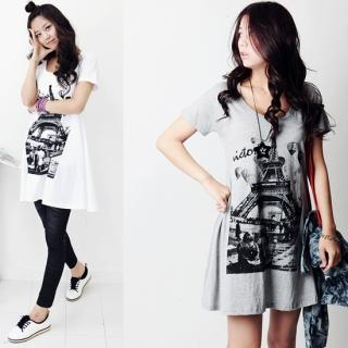 Buy Stylementor Eiffel Tower Print T-Shirt Dress 1022705567