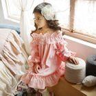 Kids Off-shoulder Frill Trim Dress 1596