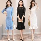 Long Sleeve Tie-Waist Lace Sheath Dress 1596