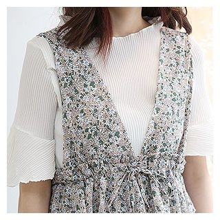 Set: Floral Pattern Long Pinafore Dress + Ribbed Top 1060339236