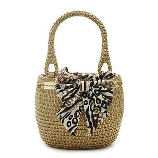Buy Let's Fly Bow Trim Woven Shoulder Bag Light Coffee – One Size 1022938194