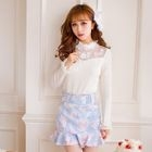 Floral Print Ruffle Hem Mini Skirt 1596