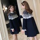 Maternity Long-Sleeve Lace Trim A-line Dress 1596