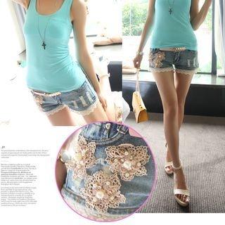 Lace Trim Embellished Denim Shorts 1055096113
