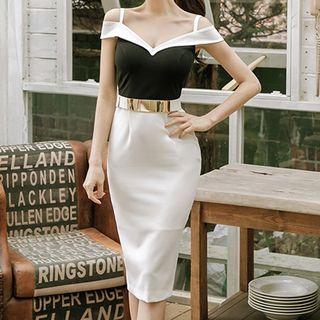 Off-Shoulder Slit-Back Panel Bodycon Dress 1060647300