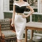 Off-Shoulder Slit-Back Panel Bodycon Dress 1596