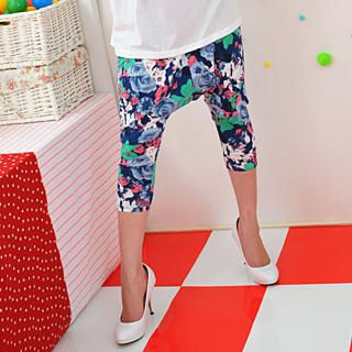 Picture of 59 Seconds Cropped Floral Print Harem Pants Blue- One Size 1022445070 (Womens Cropped Pants, 59 Seconds Pants, Hong Kong Pants)