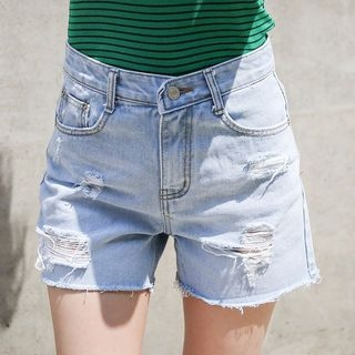 Distressed Washed Denim Shorts 1059917951