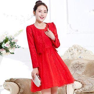 Set: Lace Jacket + Sequined Dress
