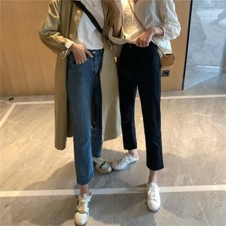 Image of Cropped Buttoned Straight-Cut Jeans