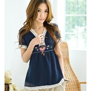 Buy Tokyo Fashion Embroidered Lace-Up Top 1023062875