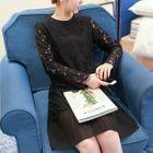 Maternity Pleated Hem Embellished Lace Dress 1596