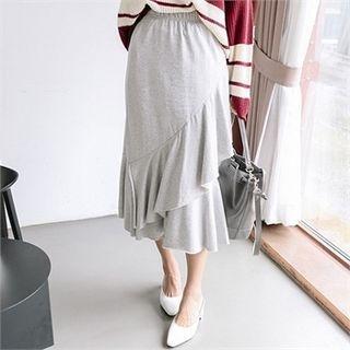 Band-Waist Ruffle Tiered Long Skirt 1061887752