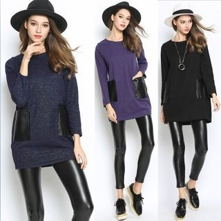 Faux Leather Panel Knit Top 1056166197