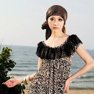Buy Tian Mu Leopard Print Ruffle Dress 1023020653