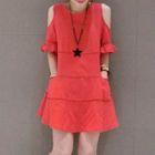 Short-Sleeve Cutout Shoulder Dress 1596