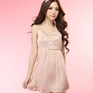 Buy Tokyo Fashion Sleeveless Crocheted Pleated Dress 1022996783