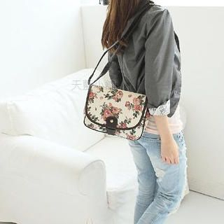 Buy SkyBlue Floral Print Canvas Shoulder Bag 1022905862