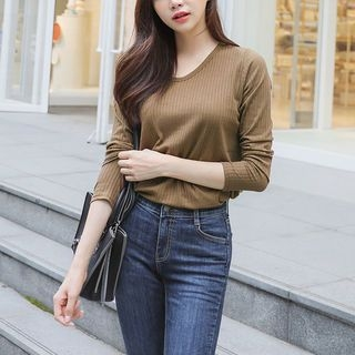 Round-Neck Ribbed T-Shirt 1062081770