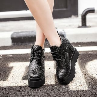 Image of Hidden Wedge Glitter Platform Short Boots