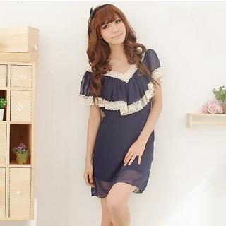 Buy LOYER.mod Lace Trim Chiffon Dress 1022906529