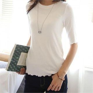 Round-Neck Ribbed T-Shirt 1052982493