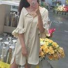 Frilled Elbow Sleeve Chiffon Shift Dress 1596