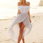 Set: Off Shoulder Short Sleeve Top + Striped Split Front Skirt 1596