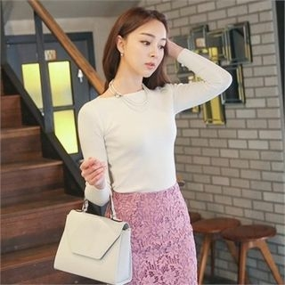 Boat-Neck Knit Top 1054891883