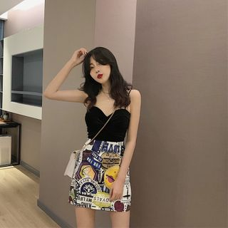 Image of Camisole Top / Printed Mini A-Line Skirt