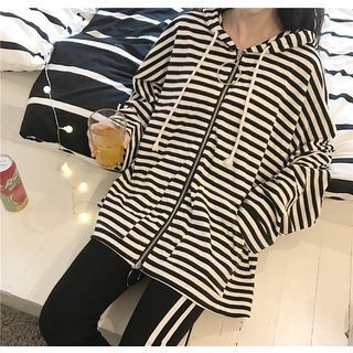 Striped Front Zip Hooded Jacket 1058251327