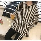 Striped Front Zip Hooded Jacket 1596