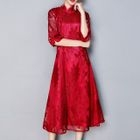 Lace Elbow-Sleeve Stand-collar Dress 1596