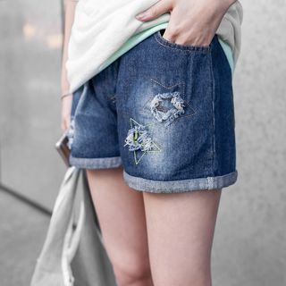 Star Embroidered Distressed Washed Denim Shorts 1052805110