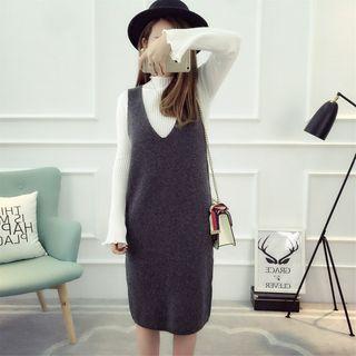 Set: Plain Long Sleeve Knit Top + Knit Pinafore Dress 1055266627