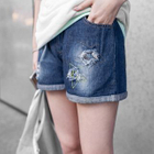 Star Embroidered Distressed Washed Denim Shorts 1596