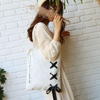 Ribbon Lace-Up Canvas Tote 1061903420