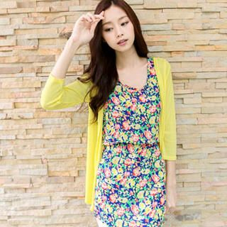Set: Cardigan + Floral Dress-image
