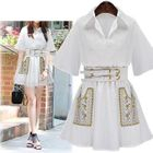 Embroidered Collared Short-Sleeve Dress 1596
