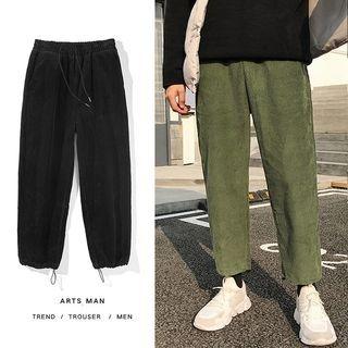 Plain Drawstring Straight Cut Corduroy Pants