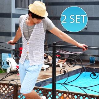 Buy moscod Set: U-Neck Short-Sleeve T-Shirt + Plaid Shorts 1023034929
