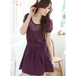 Buy Tokyo Fashion Rhinestone Smocked Chiffon Dress 1022911574