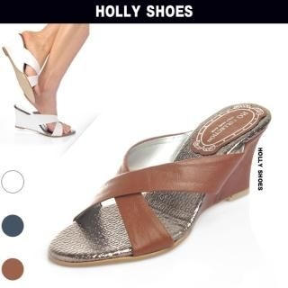 Buy Holly Shoes Crossed Strap Wedge Slippers 1022721714