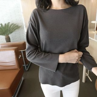 Boat-Neck Knit Top 1062196562