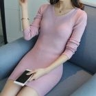 Long-Sleeve V-Neck Sweater Dress 1596